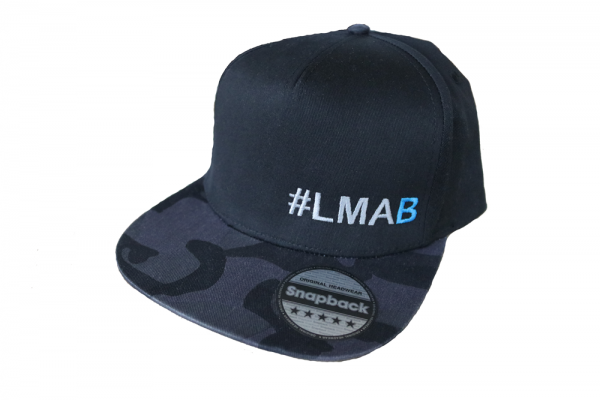 #LMAB Snapback Cap - #LMAB Script (Black / Black Camo)